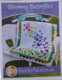 """Pattern~Blooming Butterflies,Quilt Pattern by Shabby Fabrics~ 40 1/2"""" x 51 1/2""""~ Fast Shipping PT469"""