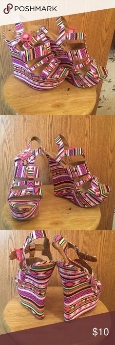 Pretty  Wedges!! Multi print wedges. A summer must have  Rue 21 Shoes Wedges