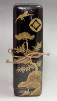 Antigüedades Makie Fubako - Japanese Letter Box de madera lacado en oro Meiji # 2056