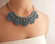 Collar declaración plata Collar boda perlas Joyería por DIDIcrochet