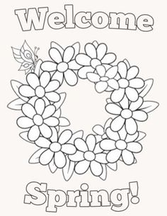Free printable coloring pages for kids featuring a spring theme.