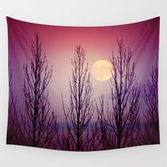 Moon tapestry, purple tapestry, large wall art, tapestry wall hanging, full moon, large wall hanging, purple home décor, twilight, moon art