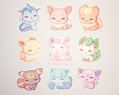 Eeveelution stickers, charms, and magnets! c: