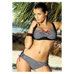 Pretty pinstripe swimset with thick straps and bust support. There are a variety of colours to choose from. Available in sizes 14-22.