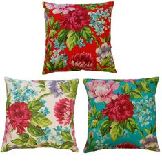 "Dahlia Flower Print Cushion Covers 18"" x 18"" Modern Floral Bright Assorted New 