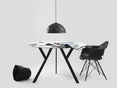 Amazing black lamp with modern chair and fashionable table. Industrial, Black Lamps, Modern Chairs, Drafting Desk, Office Desk, Table, Furniture, Lighting, Amazing