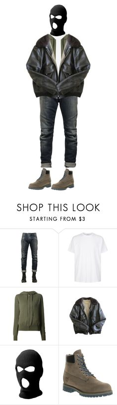 """{ isas's first appearance"" by salt-sugar ❤ liked on Polyvore featuring Pierre Balmain, Givenchy, The Row, Schott NYC, Timberland, men's fashion and menswear"