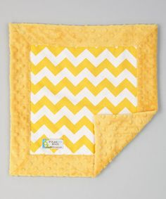 Take a look at this Yellow Zigzag Minky Security Blanket by Polka Dot Moon on #zulily today!