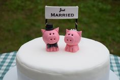 Oink oink! These bride and groom piggy wedding cake toppers were custom made for a Mr & Mrs Pig in Yorkshire (too cute!). We can make any animal, get in touch with your ideas via our etsy page.