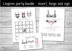 Pink lingerie shower bundle - comes with everything you need to pull off the perfect lingerie shower or lingerie party. Includes a customized bridal lingerie size card, blank lingerie bingo game and printable drop your panties sign #lingerieshower #lingerieshowerideas #lingerieparty #bridalshowerideas #bridallingerieshower #bachelorettepartyideas #lingeriesizecard #lingeriesizeinsert #lingeriebingo #lingerieshowergame #dropyourpanties #dropyourpantiesgame Lingerie Shower Games, Bridal Lingerie Shower, Lingerie Party, Bridal Shower Games, Pink Lingerie, Hens Party Invitations, Lingerie Shower Invitations, Digital Invitations, Printable Invitations