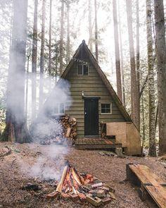 A-frame cabin.