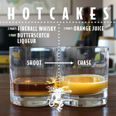 HOTCAKES 2 parts Fireball Whisky 1 part Dr. McGillicuddy's Butterscotch Liqueur Shoot. 3 parts orange juice Chase. Fireball Drinks, Alcoholic Cocktails, Liquor Drinks, Bourbon Drinks, Whiskey Cocktails, Craft Cocktails, Cheers, Cocktail Shots, Cocktails