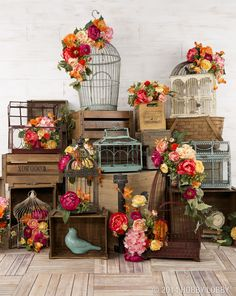 Cover a birdcage with big blooms for lovely springtime decor! Crystal and Crates Vintage Rentals have a lot of different birdcages