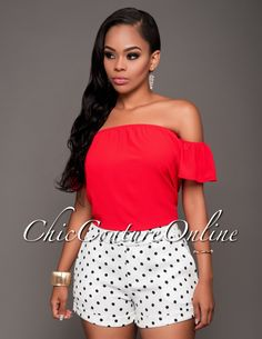 Chic Couture Online - Jaxton Off-White Navy Polka Dots Shorts.(http://www.chiccoutureonline.com/jaxton-off-white-navy-polka-dots-shorts/)