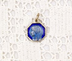 Small Vintage French Religious Silver Colored Metal and Blue Glass Enamel Medal Virgin Mary, Charm, Religion, Christian, Catholic, Madonna by VintageDecorFrancais on Etsy
