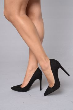 """- Available in Black - Pointed Toe Pump - 4"""" Heel - Suede"""
