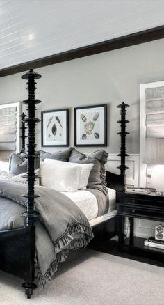 25 ideas for bedroom black bed frame grey Rustic Grey Bedroom, Bedroom Inspo Grey, Black White And Grey Bedroom, Black Master Bedroom, Grey Room, Modern Bedroom, Trendy Bedroom, White And Gray Bedding, Black Beds