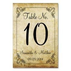 Elegant Vintage Wedding Table Number Cards.  $1.00