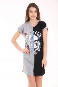 8903dc209a0ca4 Contrast Vintage Skull Printed Longline T Shirt Dress Party Wholesale