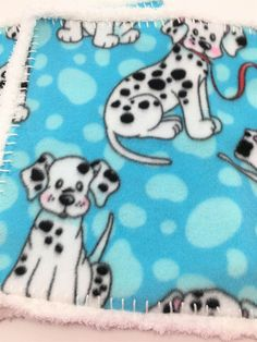 Dalmations Lovey, Crochet Edge Fleece lovey Blanket, Pipsqueak Trim, Doll Blanket, Comfort Blanket,  12x12, #12-26 by MonaSewingTreasures on Etsy