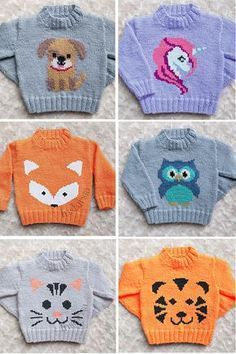 Knitting Pattern for Baby and Child Sweaters with Animals - Designer Emma Heywoo.Knitting Pattern for Baby and Child Sweaters with Animals - Designer Emma Heywoo. Knitting Pattern for Baby and Child Sweaters with Animals - Design. Baby Sweater Knitting Pattern, Animal Knitting Patterns, Baby Boy Knitting, Knit Baby Sweaters, Knitting For Kids, Knit Patterns, Free Knitting, Knitting Projects, Unicorn Knitting Pattern