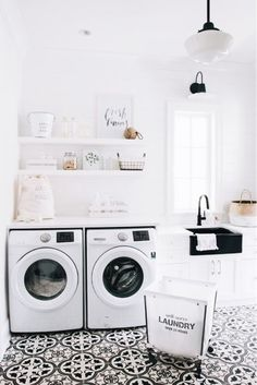 Best 20 Laundry Room Makeovers - Organization and Home Decor Laundry room decor Small laundry room organization Laundry closet ideas Laundry room storage Stackable washer dryer laundry room Small laundry room makeover A Budget Sink Load Clothes Laundry Room Tile, White Laundry Rooms, Laundry Room Organization, Small Laundry, Laundry Room Design, Laundry Decor, Basement Laundry, White Rooms, White Walls