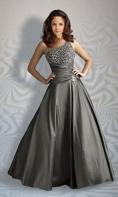 [$155.79] Brilliant A-Line One-Shoulder Floor-Length Empire Waistline Prom Dresses