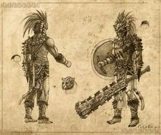 Mexica jaguar warrior knifes looking at using this idea for a tattoo. Character Concept, Character Art, Character Design, Lettrage Chicano, Deadliest Warrior, Tattoos Realistic, Tribal Warrior, Ancient Aztecs, Aztec Culture