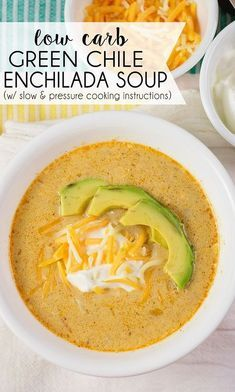 Green chilies, chicken, and cheesy goodness come together in this Low Carb Green Chile Enchilada Soup. Make it in either the pressure cooker or slow cooker!