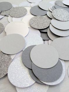 Grey and White Confetti Large Circle Confetti by ConfettiGirls