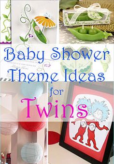 Twin baby shower themes, including Dr. Seuss, peas in a pod, diaper drive, and others