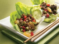 Teriyaki Beef and Pineapple Lettuce Wraps- these are yummy and so easy to make!! My family loves them