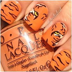 Fashion girls, if you want to go cutesy, try out these 50 cute animal nails. Tiger Nail Art, Tiger Nails, Animal Nail Art, Love Nails, Pretty Nails, Fun Nails, Colorful Nail Designs, Cute Nail Designs, Nailart