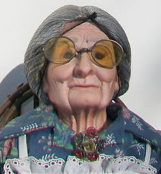 GRANDMA Old Woman DOLL Bisque Head hands Feet & Jointed Arms Legs with Costume
