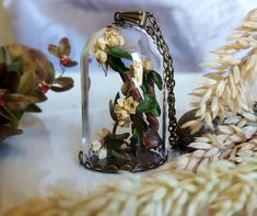miniature tree terrarium pendant,fairy garden,wedding gift,wedding jewelry,white flowers necklace,botanical pendant,real plant pendant,tree by CoraIreland on Etsy