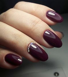 Burgundy nails with a little bling...change the shape though