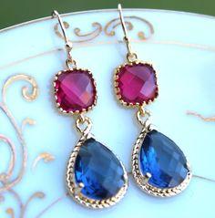Sapphire Navy Blue Earrings Fuchsia Pink Earrings Gold by laalee, $39.00