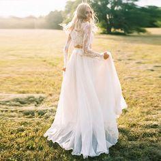 Long Sleeves Two Piece Beach Boho Lace Bride Dress - Power Day Sale Elegant Wedding Gowns, Wedding Dresses Plus Size, Best Wedding Dresses, Unique Dresses, Romantic Weddings, Two Piece Wedding Dress, Perfect Wedding Dress, Boho Wedding Dress, Lace Wedding