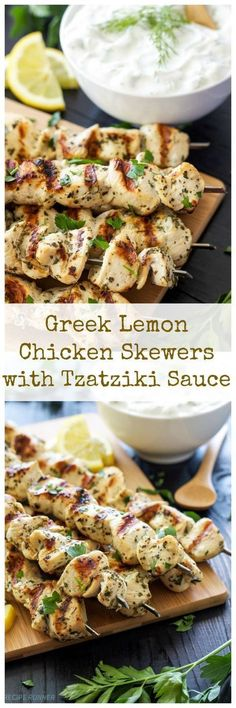 4 Points About Vintage And Standard Elizabethan Cooking Recipes! Greek Lemon Chicken Skewers With Tzatziki Sauce Delicious And Healthy Greek Chicken Skewers With A Sauce You'll Want To Slather On Everything Sauce Recipes, Paleo Recipes, Dinner Recipes, Cooking Recipes, Recipes With Tzatziki Sauce, Crockpot Recipes, Cooking Ideas, Zuchinni Recipes, Paleo Dinner