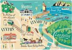 Lynton and Lynmouth map for Coast Magazine - Anna Simmons My Travel Map, Travel Posters, Riding Stables, Illustrated Maps, Devon And Cornwall, World Globes, Holidays 2017, Places Of Interest, Holiday Travel