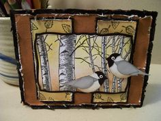 IC219 Chickadees and Birch trees by jaydekay - Cards and Paper Crafts at Splitcoaststampers