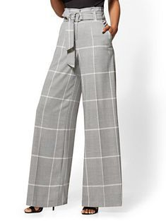 Shop 7th Avenue Pant -Plaid Paperbag-Waist Palazzo. Find your perfect size online at the best price at New York & Company.