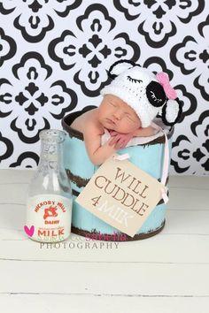Sleepy Cow Cuddle hat Newborn Photography Prop- so cute!! @hopefaber