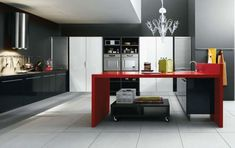 White, Black and Red Kitchen Design by Cesar