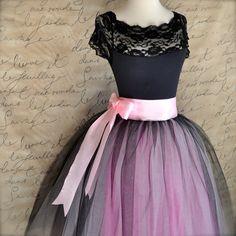 Black, pink and fuschia  tutu skirt for women.  Ballet glamour. Retro look tulle skirt. via Etsy