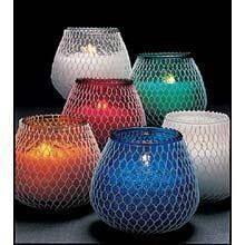 Fishnet wrapped candles