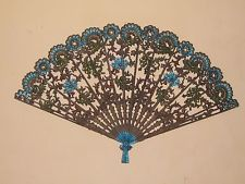 """Vintage Burwood Products Large 43"""" Fan Wall Decor Bronze Blue Red Green 4402"""