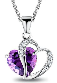"Tyjewelry Womens 14k Gold Plated Amethyst Heart Shape Pendant Necklace (Purple,18)"" - CHECK IT OUT @ http://www.finejewelry4u.com/jew/100783/150720"