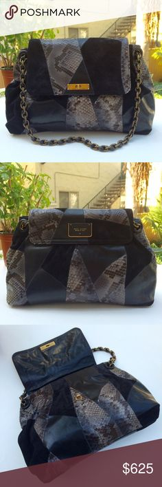 """Marc Jacobs Rare Patchwork Rita Sample Bag 1 of 2 APPROXIMATE MEASUREMENTS 13""""W x 9 1/2""""H x 2""""D with a 9"""" single strap drop or 5"""" double strap drop    DETAILS Polished black leather, black suede, and gray/blue python patchwork with antiqued gold hardware, turnlock closure, cream leather lined interior with one zip pocket and two slip pockets    CONDITION Gently used. Rare sample bag.  SEE OTHER LISTING FOR FULL DESCRIPTION AND ADDITIONAL PHOTOS  TRADES Marc Jacobs Bags Shoulder Bags"""