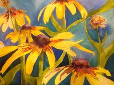 """Black-Eyed Susan's"" by Texas Watercolor Artist, Karen Scherrer"